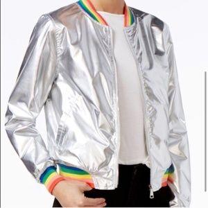 Ban do Bomber Jacket Silver Metallic Rainbow Small